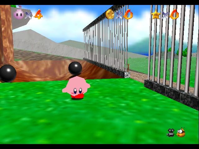 Super Mario 64 - Kirby Edition - Kirby in Bob Omb Battlefield - User Screenshot